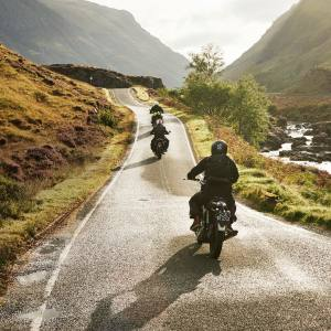 Motorcycle enthusiast Luke Towsin rides through Glencoe on his 1971 Norton Commando in stage one of The Great Mile rally