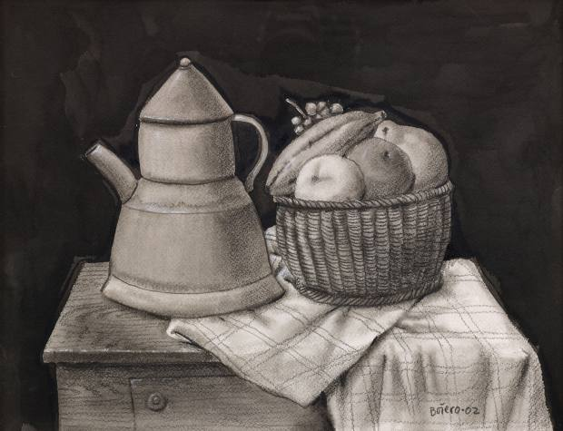 His Still Life with Fruits and Coffee Pot (2002), chalice and watercolour on paper