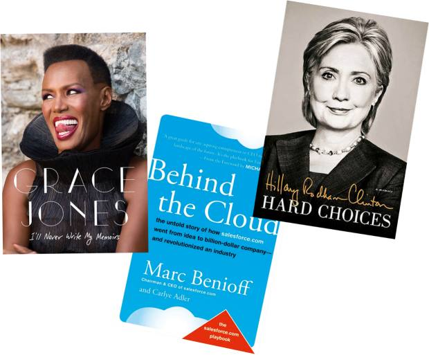 "From left: It took Paul Morley two years to produce Grace Jones's I'll Never Write My Memoirs. Carlye Adler is a favoured ghost for Silicon Valley entrepreneurs such as Marc Benioff. Hillary Clinton made sure she credited her ""book team"" for her 2014 Hard Choices"