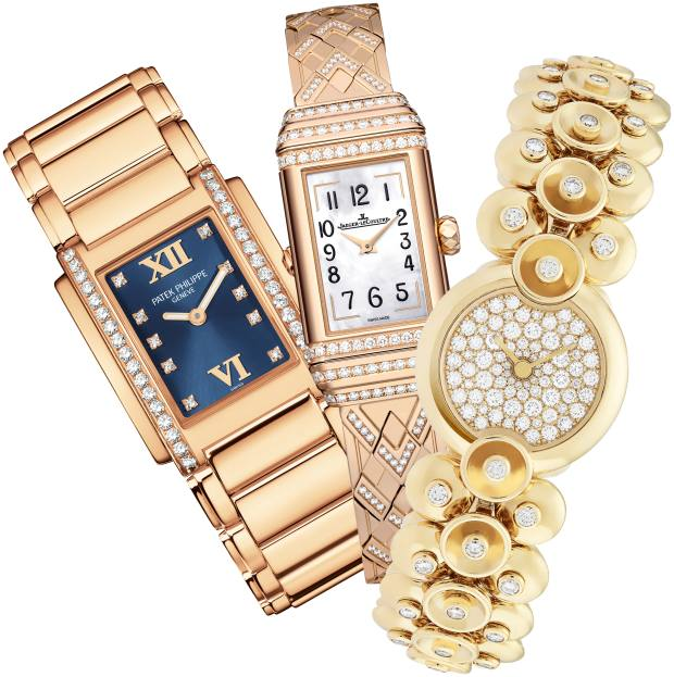 From left: Patek Philippe rose-gold and diamond Twenty~4 watch, £30,380. Jaeger-LeCoultre rose-gold and diamond Reverso One Duetto Jewelry watch, £54,000. Van Cleef & Arpels gold and diamond Bouton d'Or watch, £60,400