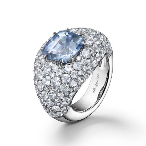 Margaret Ceylon sapphire and grey-blue sapphire Boule ring, $45,000