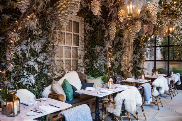 The Dalloway Terrace at The Bloomsbury is decked out with ice-fringed fir trees and twinkling lights