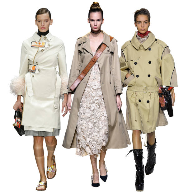 From left: Prada cotton and ostrich feather trench with rubber panels, £1,710. Dior cotton trench, £2,700. Sacai cotton trench, £1,375