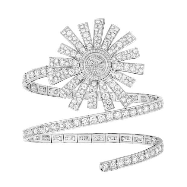 Chanel High Jewellery white gold and diamond Soleil watch from the 1932 Re-edition collection, price on request