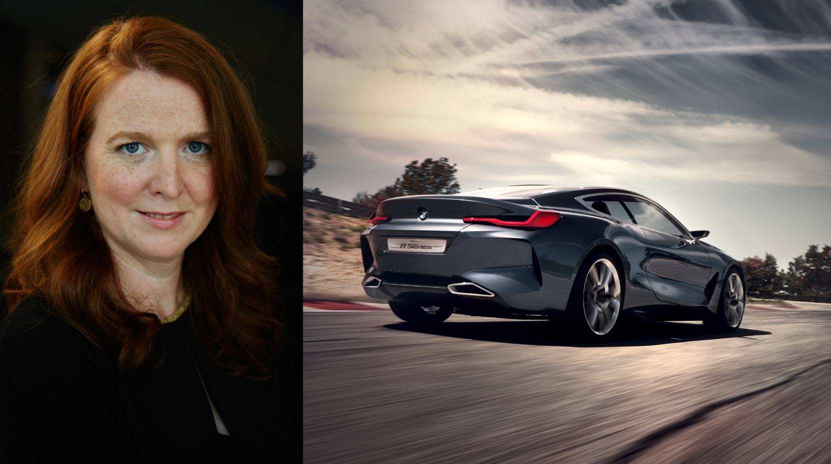 Martina Starke, BMW's head of brand vision and brand design, and the new BMW Concept 8 Series
