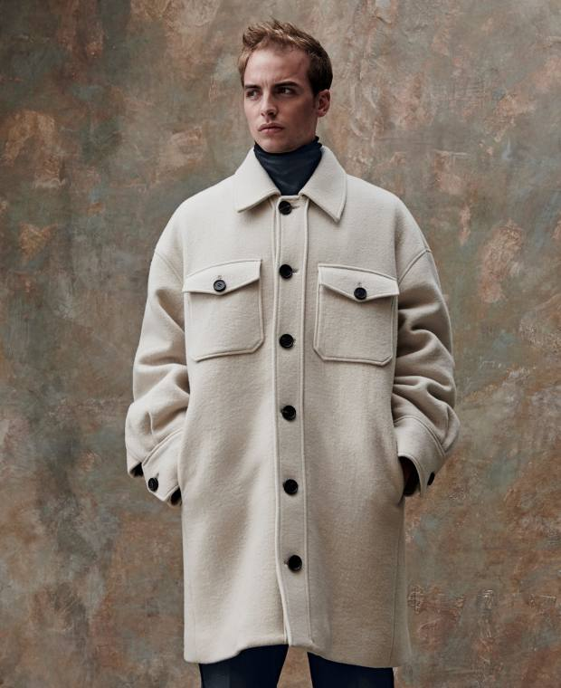 Wooyoungmi wool coat, £1,195, and wool poloneck, £430. Casely-Hayford wooltrousers, £395