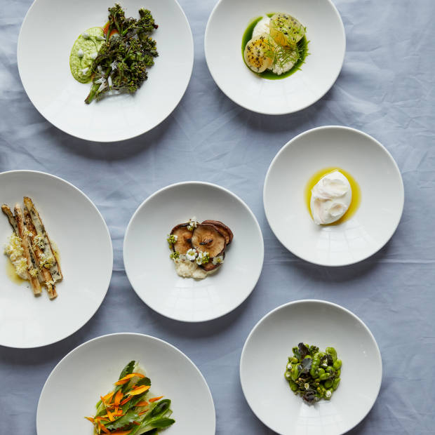 The kitchen's use of seasonal, local produce and plant-based alternatives is showcased in the six-course tasting menu, £45