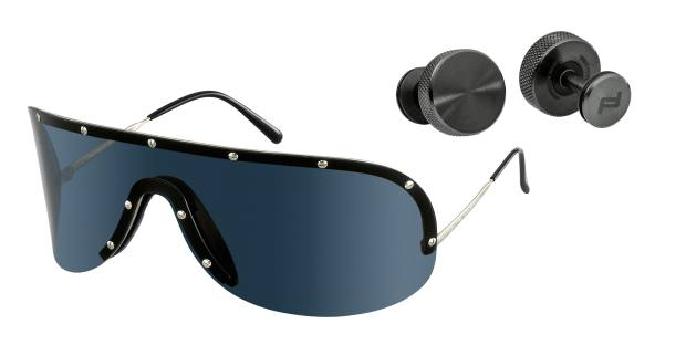 Porsche Design titanium sunglasses by Yoko Ono, £250, and steel cufflinks, £265