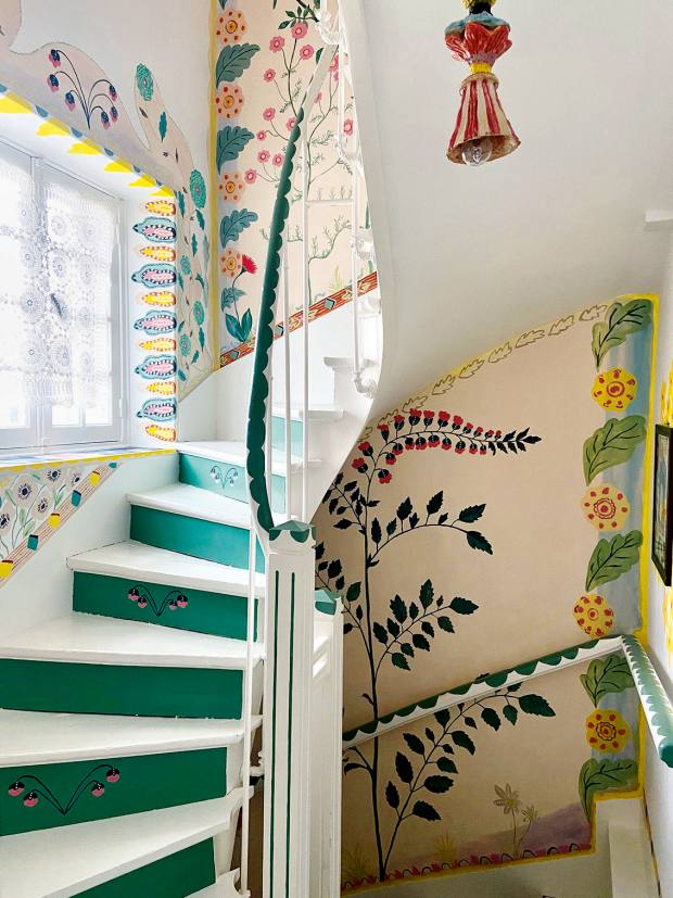 The staircase that artist Nathalie Lété painted ather home