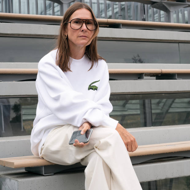 Louise Trotter wearing items from her spring/summer 2020 collection