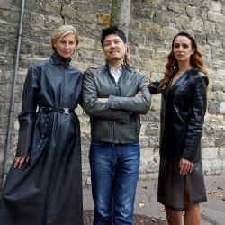 Elizabeth von Guttman in an Alyx raincoat, £1,420. Andy Ku wearshisown clothes. Alexia Niedzielski in an Alyx jacket, £3,485, and skirt, £685