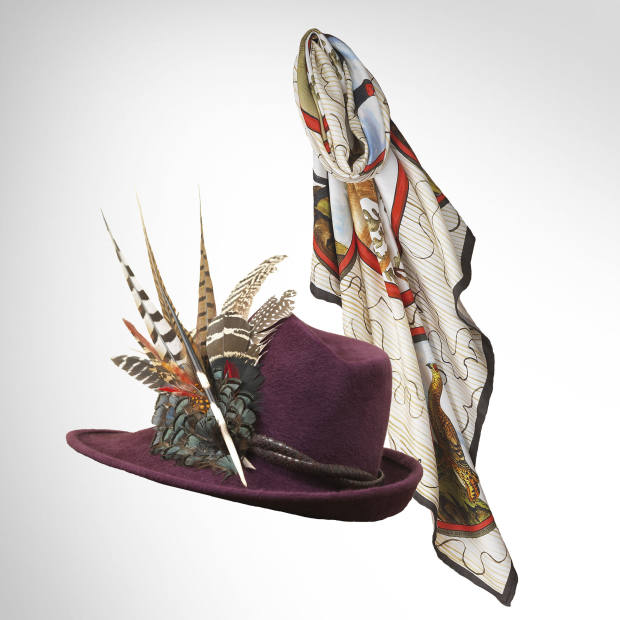 Purdey silk scarf, £475, and velour hat by Philip Treacy, £825