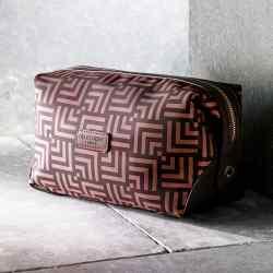 Otis Batterbee nylon Fenton Camel Deco Print washbag,£38