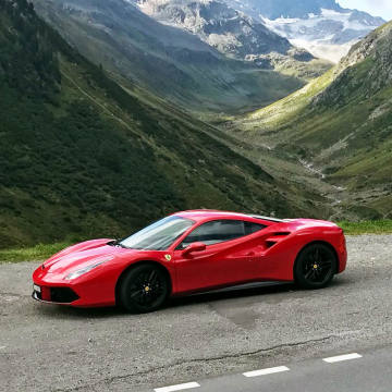 A Ferrari 488 GTB, left, and a Lamborghini Huracán Spyder are among the supercars available to guests on Leo Trippi's tour of the Alps