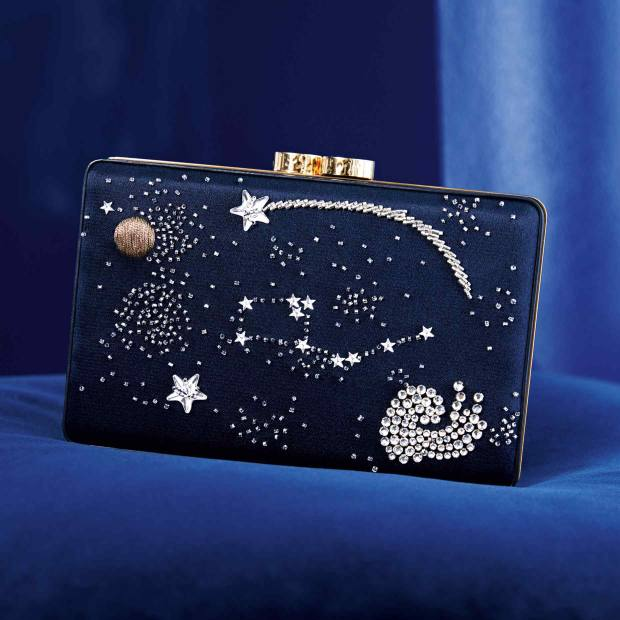 Embroidered silk double satin Zodiac clutch bag, €8,000