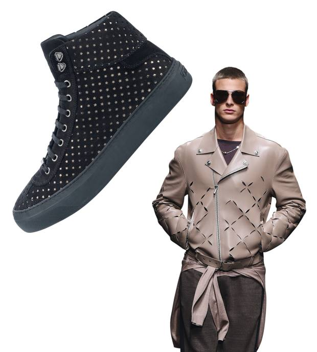 From left: Jimmy Choo suede Argyle shoes, £495. Versace leather motorcycle jacket, about £3,380