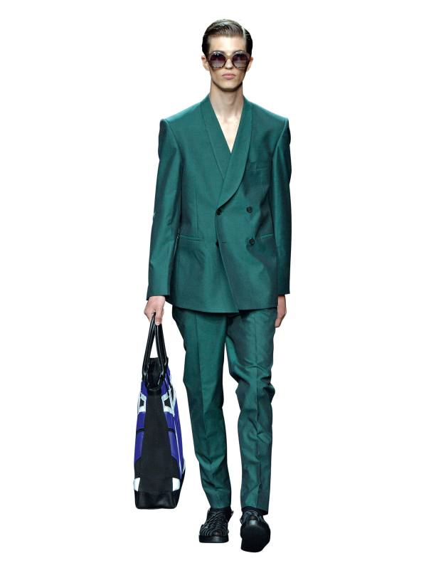 Cotton made-to‑measure Nightingale jacket and Basalto trousers, £1,295, and nylon, polyester and leather Beaumont tote, £235