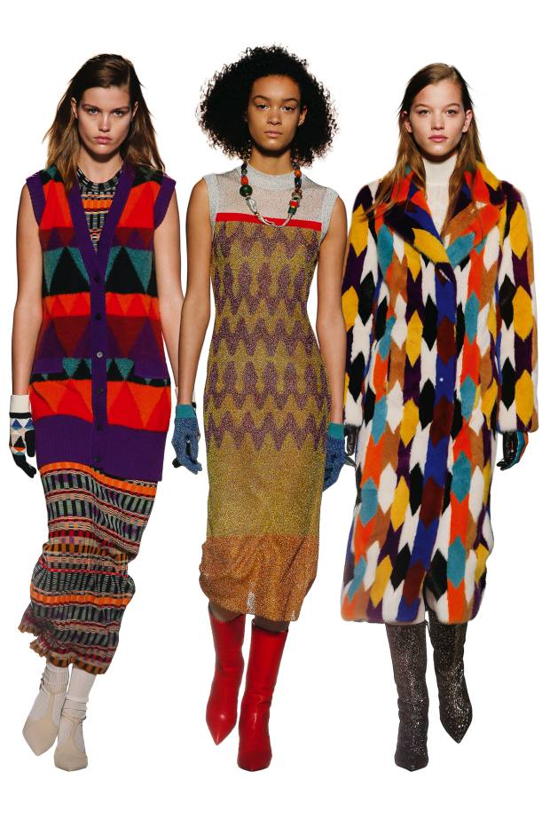 From left: Missoni wool gilet,£1,065, and wool dress, £910. Wool, mohair and lamé jacquard dress, £1,025. Mink coat, £29,000, and viscose and mohair poloneck, £655