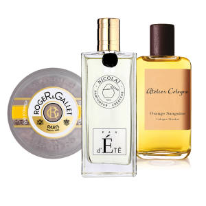 From left: Roger & Gallet Bois d'Orange soap, £10. Parfums de Nicolaï Eau d'Eté, €111 for 100ml EDT. Atelier Cologne Orange Sanguine, $195 for 200ml Cologne Absolue