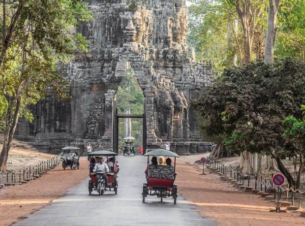 Tuk-tuks in Angkor Thom