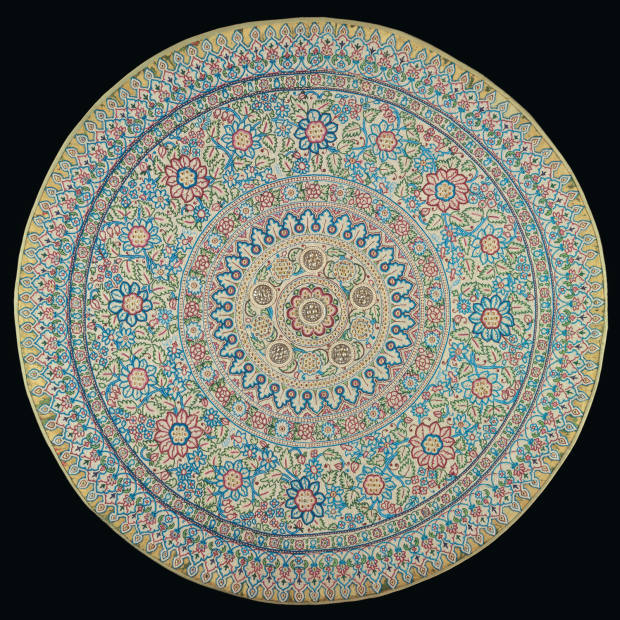 A Baroda pearl canopy, c1865-1870, set with Basra pearls, emeralds, sapphires, rubies and coloured-glass beads, estimate $800,000-$1.2m