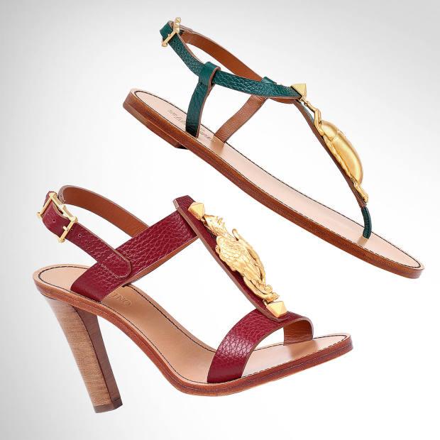 From top: Valentino Garavani leather sandals, £620. Valentino Garavani leather heels, £675