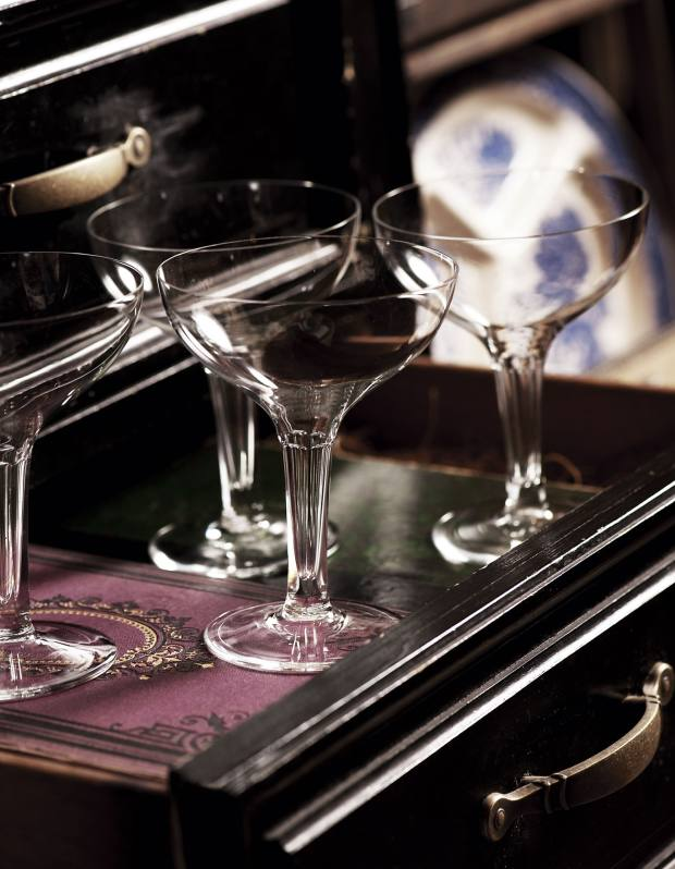 American hollow-stem champagne coupes, $120 for a set of eight.