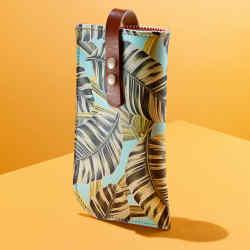Leather glasses case in Tropical Banana Leaves by Tovi Sorga, £65