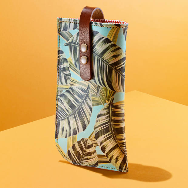 Leather glasses case in Tropical Banana Leaves by Tovi Sorga, £65