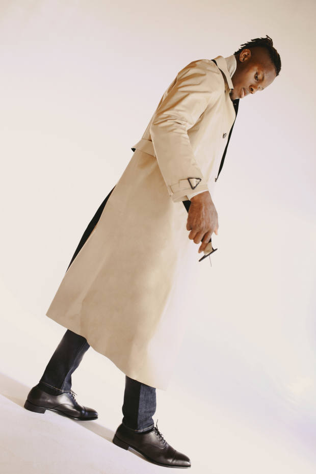 Bottega Veneta polyester and cotton trench coat, £2,095, from matchesfashion.com. Tom Ford cashmere turtleneck, £850. Levi's cotton 512 jeans, £95. George Cleverley calfskin shoes, £525