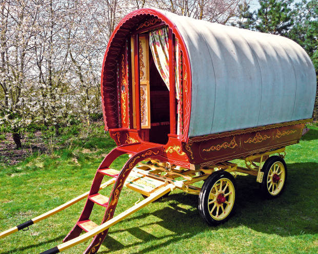 A c1950s vardo wagon, £8,500, at The Gypsy Wagon Company