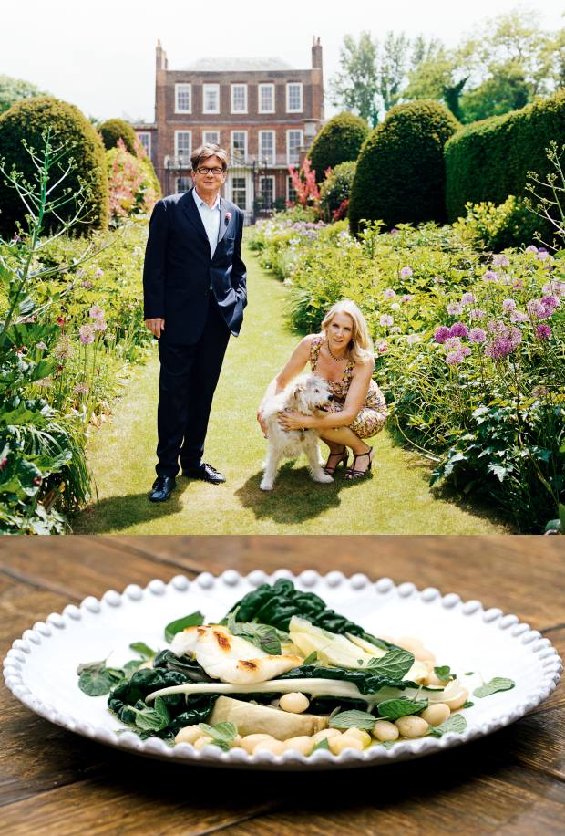 From top: Francesco and Gael Boglione at Petersham House. Cod with beans and cavolo nero, served at Petersham Nurseries Café in Richmond