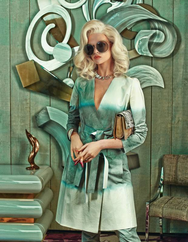 Fendi suede and patent leather coat, £5,730, and suede trousers, £2,100. Chloé Carlina sunglasses, £185, and python and calf suede Faye bag, £1,100. Lele Sadoughi gold plate, howlite and marble necklace, £260. Tod's brass and leather Balance cuff, £390  From far left: 1980s lacquer and brass commode, £11,500, Dean Johnson 1980s brushed aluminium and lacquer illusionist wall sculpture, £8,400, and 1970s nickel plated and upholstered dining chair, £6,500 for a set of six, all from Talisman London. The Rug Company Tibetan wool Ember rug by Rodarte, £4,187