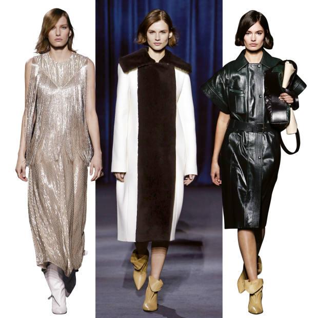 Givenchy wool andshearling coat, €6,790, and lambskin boots, €795; lambskin coat, €4,290, andlambskin boots, €795;and embroidered silkdress,€35,000, and calfskin boots, €995