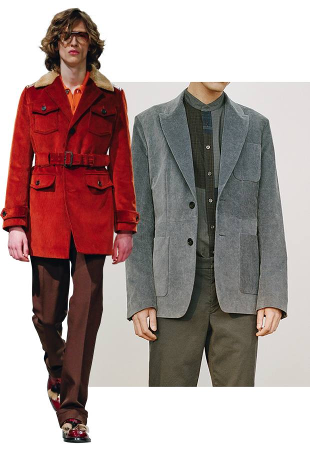 From left: Prada cord car coat, £2,065. Helbers washed-cord Slack jacket, £1,140
