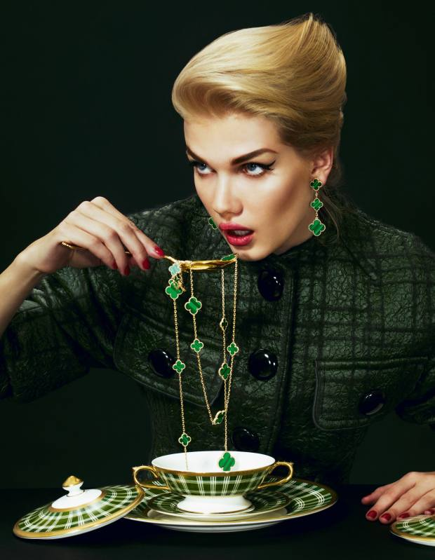 Wool/silk jacket, £1,940, by Louis Vuitton. Gold limited-edition Magic Alhambra malachite necklace, £18,900, and matching earclips, £6,700, both by Van Cleef & Arpels. Porcelain soup cup with lid and saucer, £560, and dessert plate, £170, all from the Lord of the Isles collection by Thomas Goode. Gold Maddox spoon, part of a five-piece set, £500, by Ralph Lauren Home.Louis Vuitton, 17-20 New Bond Street, London W1 (020-7399 4050; www.louisvuitton.com). Ralph Lauren, 1 New Bond Street, London W1 (020-7535 4600; www.ralphlaurenhome.com) and branch. Selfridges, 400 Oxford Street, London W1 (0800-123 400; www.selfridges.com). Thomas Goode, 19 South Audley Street, London W1 (020-7499 2823; www.thomasgoode.com). Van Cleeef & Arpels, 020-7318 3337; www.vancleef-arpels.com and see The Wonder Room at Selfridges.
