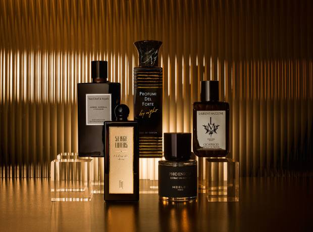 From far left: Van Cleef & Arpels Ambre Impérial, £126 for 75ml EDP. Serge Lutens L'Haleine des Dieux, £480 for 50ml parfum. Profumi del Forte By Night, £168 for 100ml EDP. Heeley Phoenicia, £170 for 100ml extrait de parfum. Laurent Mazzone Cicatrices, £225 for 100ml extrait de parfum