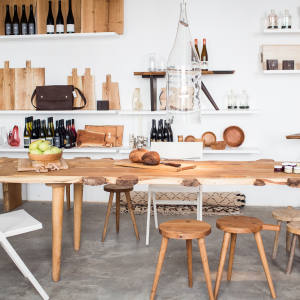 BuchholzBerlin sells the dining tables, knives and cutting boards used in the accompanying café
