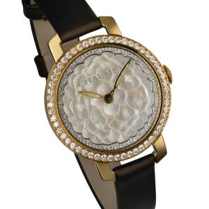 Chaumet Hortensia watch in gold, diamonds and mother-of-pearl on satin strap, £19,440. Also in other materials