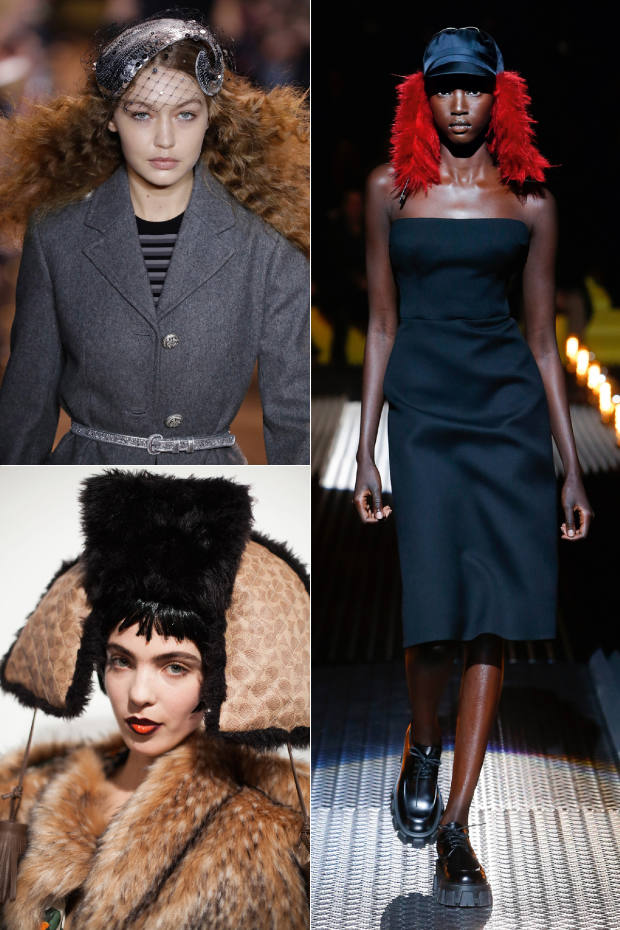 Clockwise from top left: Michael Kors x Stephen Jones Kiss Curl fascinator, £1,575. Prada mohair hat, £335. Stephen Jones for Coach x Matty Bovan hat, POA