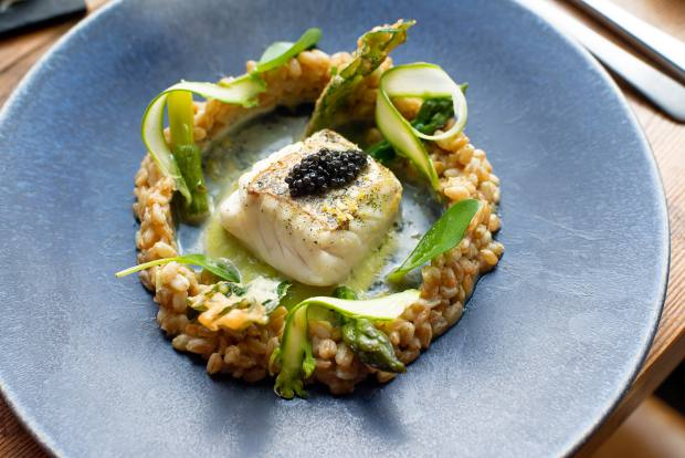 Seared hake in wakame sauce with spelt risotto, green asparagus and Oscietra caviar
