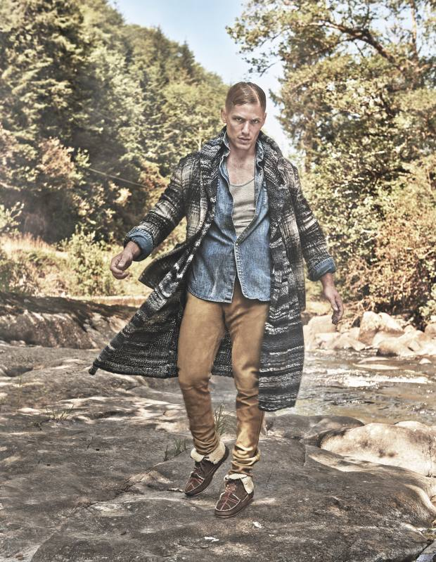 Casely-Hayford wool/nylon jacket, £695, and wool hooded long cardigan, £425. Polo Ralph Lauren chambray cotton shirt, £170. Gap cotton vest, £13. Burberry suede trousers, £995. Jérôme Dreyfuss shearling and lambskin Cheyenne moccasins, £535