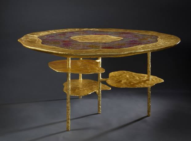 Hélène de Saint Lager resin, gilding and fine-gold Fleur table, designed for Schiaparelli