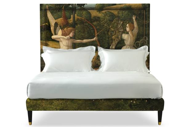 Savoir Beds x National Gallery Savoir Felix bed with Gherardo di Giovanni del Fora's The Combat of Love and Chastity