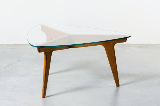 Wood and glass table by Ponti from the 1950s