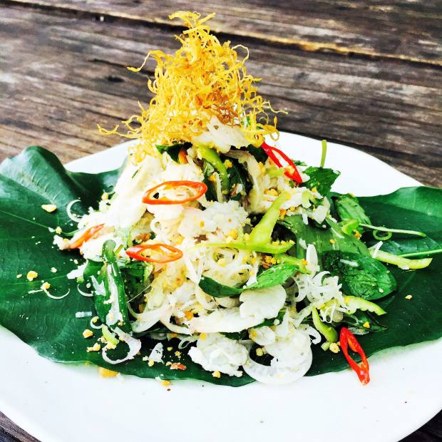 Plea Trey barramundi salad with green chilli, banana palm, toasted peanuts, mint and basil