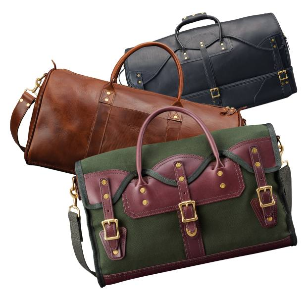 From top: JW Hulme Co leather Rolling duffel bag, £1,840, leather Continental duffel bag, £720, and cotton canvas and leather Hainey Field briefcase, £340