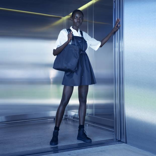 Prada's Project Earth, which comprises a capsule collection of sustainably produced gear, is taking over The Selfridges Corner Shop in London