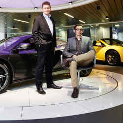 PistonHeads executive director Lee Williams (left) and editor Dan Trent at the McLaren London showroom, with two 650S Spiders