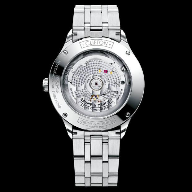 5 days: Baume &Mercier stainless-steel Clifton Baumatic, £2,450